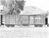 Side view of box car #3661 at Colorado Railroad Museum.<br /> D&amp;RGW  Colorado Railroad Museum, Golden, CO  Taken by Payne, Andy M. - 10/17/1976