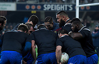 France huddles during warmup for the Steinlager Series international rugby match between the New Zealand All Blacks and France at Forsyth Barr Stadium in Wellington, New Zealand on Saturday, 23 June 2018. Photo: Dave Lintott / lintottphoto.co.nz