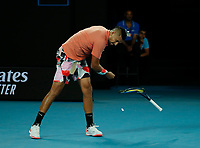 27th January 2020; Melbourne Park, Melbourne, Victoria, Australia; Australian Open Tennis, Day 8; Nick Kyrgios of Australia throws and breaks his racquet during his match against Rafael Nadal of Spain