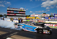 Aug 15, 2014; Brainerd, MN, USA; NHRA pro stock driver Jonathan Gray during qualifying for the Lucas Oil Nationals at Brainerd International Raceway. Mandatory Credit: Mark J. Rebilas-
