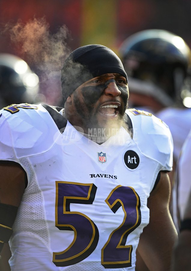 Jan 12, 2013; Denver, CO, USA; Baltimore Ravens linebacker Ray Lewis (52) prior to the game against the Denver Broncos during the AFC divisional round playoff game at Sports Authority Field.  The Ravens defeated the Broncos 38-35 in double overtime. Mandatory Credit: Mark J. Rebilas-