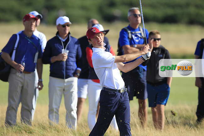 Cole Hammer (USA) on the 15th during Day 1 Singles of the Walker Cup at Royal Liverpool Golf CLub, Hoylake, Cheshire, England. 07/09/2019.<br /> Picture: Thos Caffrey / Golffile.ie<br /> <br /> All photo usage must carry mandatory copyright credit (© Golffile | Thos Caffrey)