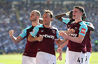West Ham United's Mark Noble celebrates scoring his side's second goal with Marko Arnautovic and Declan Rice<br /> <br /> Photographer Rob Newell/CameraSport<br /> <br /> The Premier League - Leicester City v West Ham United - Saturday 5th May 2018 - King Power Stadium - Leicester<br /> <br /> World Copyright &copy; 2018 CameraSport. All rights reserved. 43 Linden Ave. Countesthorpe. Leicester. England. LE8 5PG - Tel: +44 (0) 116 277 4147 - admin@camerasport.com - www.camerasport.com