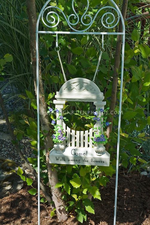 """Garden sign """"Come walk among the flowers"""" garden gate inviting welcome"""