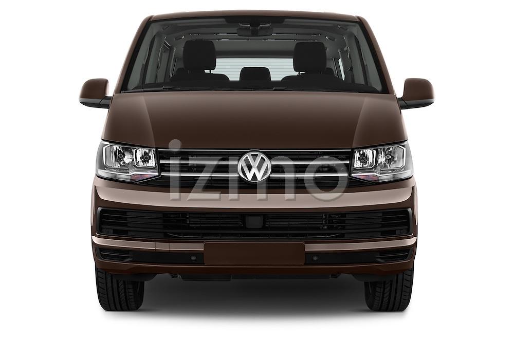 Car photography straight front view of a 2016 Volkswagen Caravelle Comfortline 5 Door Minivan Front View