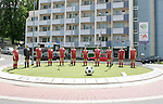 "06 June 2006: A sculpture titled ""Elf Freunde"", or ""Eleven Friends"" is situated in a roundabout near Fritz-Walter Stadium in  Kaiserslautern site of several games during the FIFA 2006 World Cup."