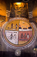 Interior of the watchtower on the south rim of Grand Canyon, Arizona, USA. Indian paintings