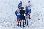 Referee Sebastian Stockridge explaining the stoppage to Oldham and Portsmouth players. Oldham v Portsmouth League 1