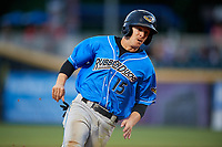 Akron RubberDucks center fielder Andrew Calica (15) runs the bases during a game against the Harrisburg Senators on August 18, 2018 at FNB Field in Harrisburg, Pennsylvania.  Akron defeated Harrisburg 5-1.  (Mike Janes/Four Seam Images)