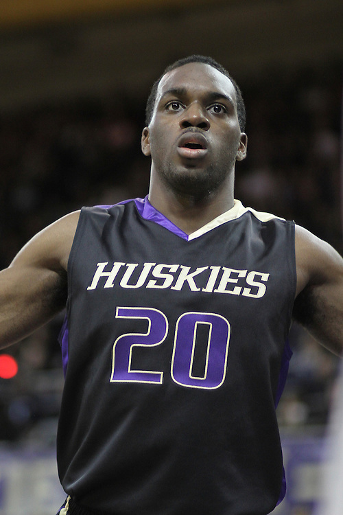 Quincy Pondexter guards an in-bounds play during the Huskies Pac-10 conference home game against arch-rival Washington State at Bank of America Arena in Seattle, Washington, on January 30, 2010.