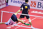 Takeshi Terashima (JPN), <br /> AUGUST 24, 2018 - Sepak takroae : <br /> Men's Doubles Semi-final  match Thailand - Japan <br /> at Jakabaring Sport Center Ranau Hall <br /> during the 2018 Jakarta Palembang Asian Games <br /> in Palembang, Indonesia. <br /> (Photo by Yohei Osada/AFLO SPORT)