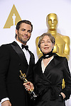 US-LOS ANGELES-OSCARS-BEST COSTUME DESIGN--Milena Canonero (R) poses after winning the Best Costume Design award for &quot;The Grand Budapest Hotel&quot; during the 87th Academy Awards at the Dolby Theater. <br /> Los Angeles, USA - 22/02/2015.