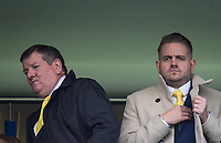 Watford Operations Director Glyn Evans (left) & Gareth Evans (Harry the Hornet) during the Premier League match between Chelsea and Watford at Stamford Bridge, London, England on 21 October 2017. Photo by Andy Rowland.
