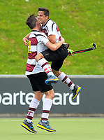 Harbour captain George Muir (right) celebrates during the 2017 National Hockey League Men's final between Auckland and North Harbour at National Hockey Stadium in Wellington, New Zealand on Sunday, 24 September 2017. Photo: Dave Lintott / lintottphoto.co.nz