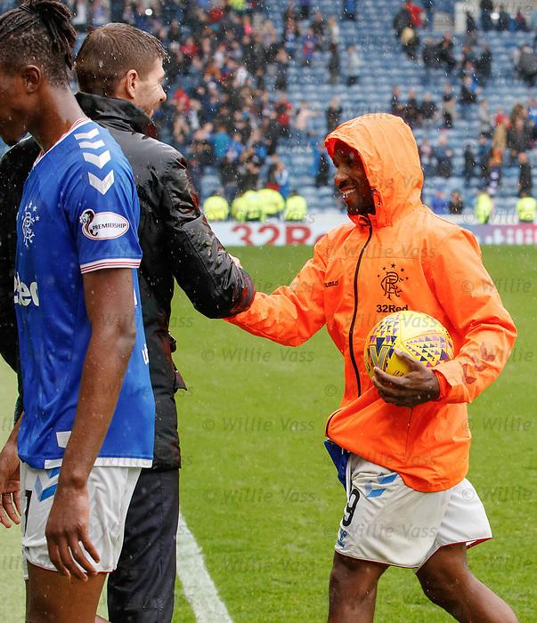 11.08.2019 Rangers v Hibs: Jermain Defoe and Steven Gerrard