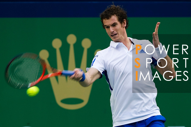 SHANGHAI, CHINA - OCTOBER 16:  Andy Murray of Great Britain retusna ball to Juan Monaco of Argentina during day six of the 2010 Shanghai Rolex Masters at the Shanghai Qi Zhong Tennis Center on October 16, 2010 in Shanghai, China.  (Photo by Victor Fraile/The Power of Sport Images) *** Local Caption *** Andy Murray