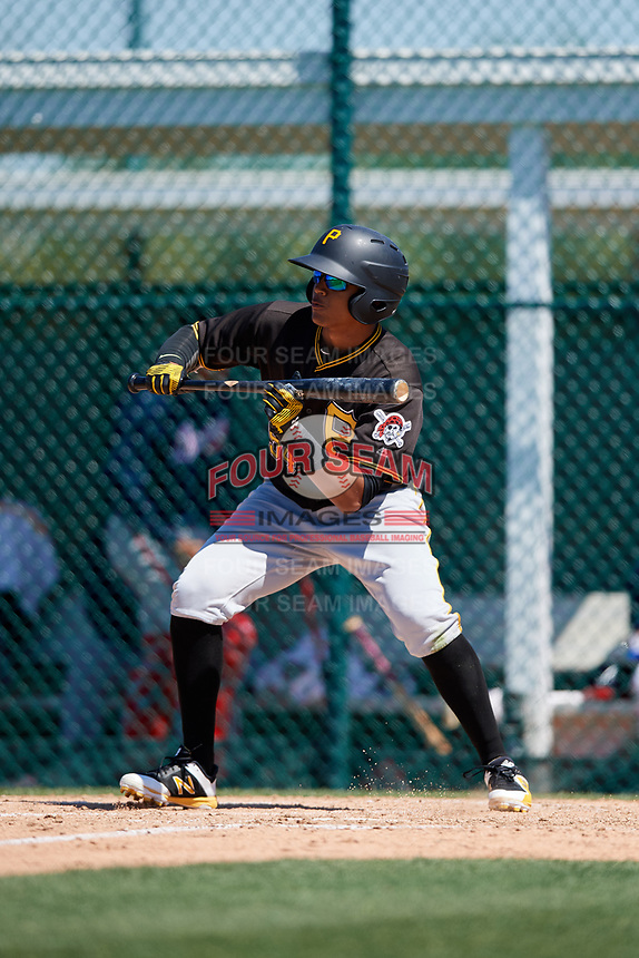 Pittsburgh Pirates Jean Eusebio (54) during a minor league Spring Training game against the Atlanta Braves on March 13, 2018 at Pirate City in Bradenton, Florida.  (Mike Janes/Four Seam Images)