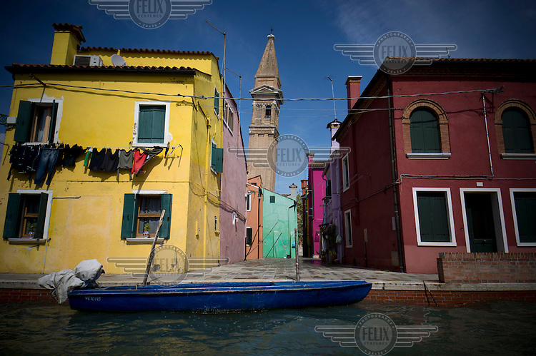 Colourful houses and the leaning tower of San Martino Church on Burano Island.