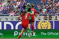 Orlando, FL - Sunday June 26, 2016: Michelle Betos, Jamia Fields, Amandine Henry, Lindsey Horan  during a regular season National Women's Soccer League (NWSL) match between the Orlando Pride and the Portland Thorns FC at Camping World Stadium.