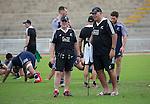 Team Dr Zig Khouri (L) and Kaumatua Luke Crawford. Maori All Blacks Train. Suva, Fiji. July 9 2015. Photo: Marc Weakley