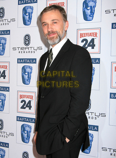 CHRISTOPH WALTZ .at BAFTA LA's 16th Annual Awards Season Tea Party held at Beverly Hills Hotel in Beverly Hills, California, USA,  January 16th 2010.                                                                 .arrivals half length black suit tie blazer jacket beard facial hair hand in pocket .CAP/RKE/DVS.©DVS/RockinExposures/Capital Pictures