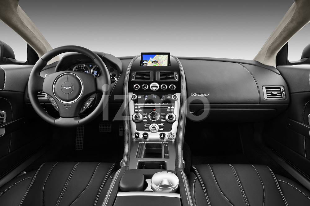 Straight dashboard view of a 2012 Aston Martin Virage.