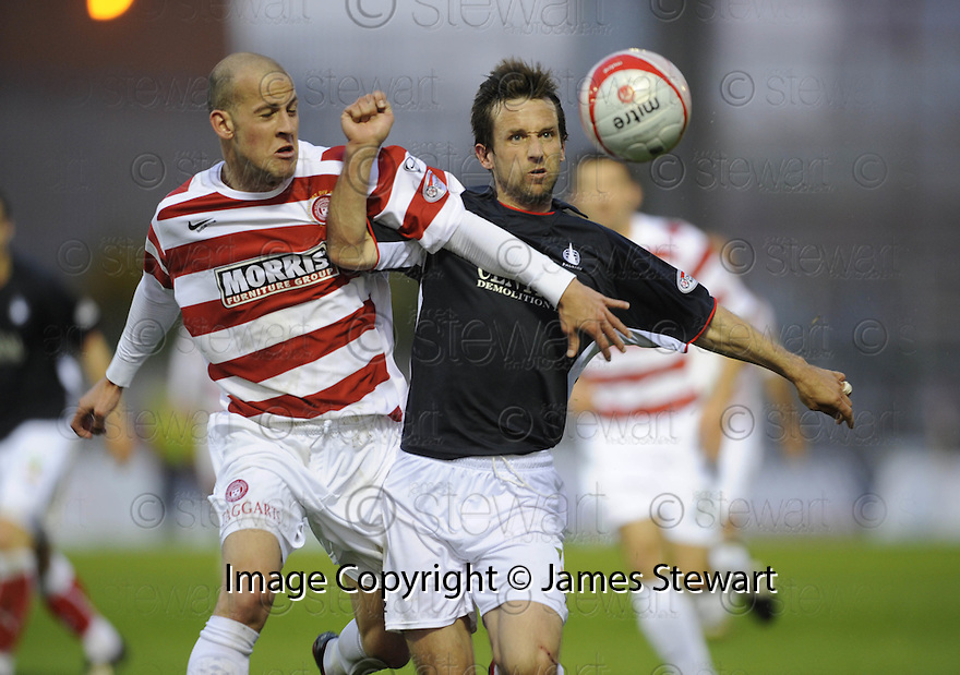13/05/2009  Copyright  Pic : James Stewart.sct_jspa12_hamilton_v_falkirk.ALEX NEIL AND NEIL MCCANN CHALLENGE.James Stewart Photography 19 Carronlea Drive, Falkirk. FK2 8DN      Vat Reg No. 607 6932 25.Telephone      : +44 (0)1324 570291 .Mobile              : +44 (0)7721 416997.E-mail  :  jim@jspa.co.uk.If you require further information then contact Jim Stewart on any of the numbers above.........