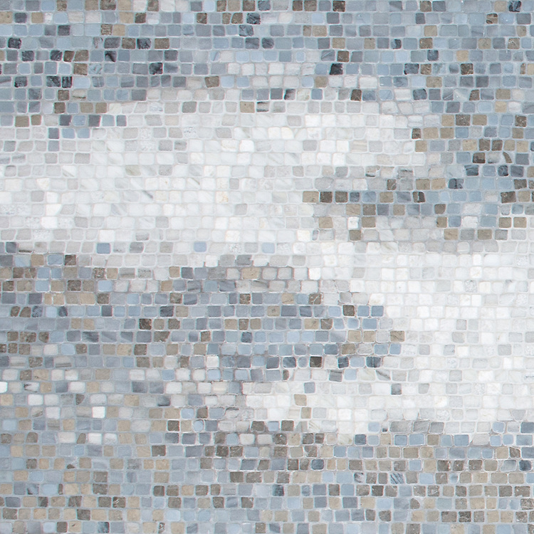 Mist, a hand-cut stone mosaic, shown in Stratus, Angora, Cashmere, Pacifica, Kehena, Lagos Gold, Cirrus, and Greystoke.