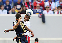 Alejandro Moreno #15 of the Philadelphia Union turns to see Ibrahim Salou #29 of the New York RedBulls head the ball during a MLS  match on April 24 2010, at RedBull Arena, in Harrison, New Jersey.
