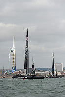 Land Rover BAR sails in front of the Emirates Spinnaker Tower during day two of the Louis Vuitton America's Cup World Series racing, Portsmouth, United Kingdom. (Photo by Rob Munro/Stewart Communications)
