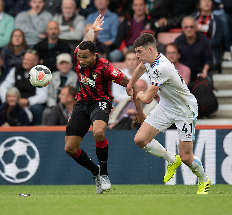 West Ham United's Declan Rice (right) battles for possession with Bournemouth's Callum Wilson (left) <br /> <br /> Photographer David Horton/CameraSport<br /> <br /> The Premier League - Bournemouth v West Ham United - Saturday 28th September 2019 - Vitality Stadium - Bournemouth<br /> <br /> World Copyright © 2019 CameraSport. All rights reserved. 43 Linden Ave. Countesthorpe. Leicester. England. LE8 5PG - Tel: +44 (0) 116 277 4147 - admin@camerasport.com - www.camerasport.com
