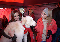 NWA Democrat-Gazette/BEN GOFF @NWABENGOFF<br /> Elizabeth Rose of Fayetteville and friend Maddie Smart of Blytheville play with Rose's dog Cotton on Saturday Nov. 21, 2015 while tailgating before the Arkansas football game against Mississippi State in Fayetteville.