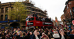 The Bus nears the town hall during the open top bus parade from Bramall Lane Stadium to Sheffield Town Hall, Sheffield. Picture date: May 2nd 2017. Pic credit should read: Simon Bellis/Sportimage