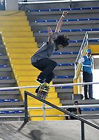 BOGOTA - COLOMBIA - 12 - 08 - 2017: Pedro Cruz, Skater, de Puerto Rico, durante competencia en el Primer Campeonato Panamericano de Skateboarding, que se realiza en el Palacio de los Deportes en la Ciudad de Bogota. / Pedro Cruz, Skater, from Puerto Rico, during a competitions in the First Pan American Championship of Skateboarding, that takes place in the Palace of Sports in the City of Bogota. Photo: VizzorImage / Luis Ramirez / Staff.