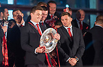 Wales's national rugby team who won both the Six Nations and the Grand Slam are welcomed to the National Assembly for Wales Senedd building in Cardiff Bay today for a public celebration event. Joanthan Davieds with the triple crown.