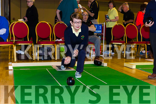 Hannah Clifford Killorglin in deep cencentration as she bowls in the National Bowls finals in the INEC on Wednesday