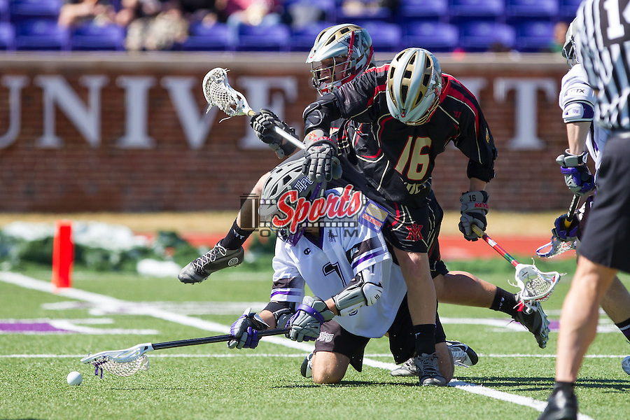 Adam Seal (7) of the High Point Panthers fights for the face-off against Eric Groleau (16) of the VMI Keydets at Vert Track, Soccer & Lacrosse Stadium on March 8, 2014 in High Point, North Carolina.  The Panthers defeated the Keydets 9-8.   (Brian Westerholt/Sports On Film)