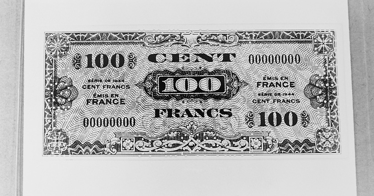 100 France note from 1944. (Photo by CQ Roll Call via Getty Images)