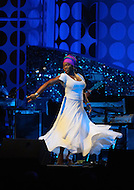"August 25, 2011 (Washington, DC)  India Arie performed at ""The Message in the Music"" at the Washington Convention Center on August 25, 2011.  The star studded concert was led by musical director Ray Chew, and celebrated the dedication of the Martin Luther King Jr. Memorial.   (Photo by Don Baxter/Media Images International)"