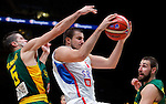 Serbia's Nemanja Bjelica (R) vies with Lithuania's Mantas Kalnietis (L) during European championship semi-final basketball match between Serbia and Lithuania on September 18, 2015 in Lille, France  (credit image & photo: Pedja Milosavljevic / STARSPORT)