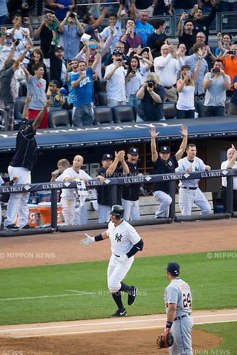 Alex Rodriguez (Yankees), JUNE 19, 2015 - MLB : Alex Rodriguez of the New York Yankees celebrates as he runs to home plate after hitting a home run for his 3000th career hit during the Major League Baseball game at Yankee Stadium in the Bronx, New York, United States. (Photo by Thomas Anderson/AFLO) (JAPANESE NEWSPAPER OUT)