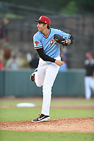 Hickory Crawdads Hans Crouse (10) pitches during a game with the Asheville Tourists at L.P. Frans Stadium on May 8, 2019 in Hickory, North Carolina.The Tourists defeated the Crawdads 7-6. (Tracy Proffitt/Four Seam Images)