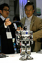 Kondo KHR-3 HV poses for a demonstration at the International Robot Exhibition in Tokyo on November 27, 2009. Some 200 robot companies and institutes exhibit their latest robot technologies at a four-day exhibition (photo Laurent Benchana/Nippon News).