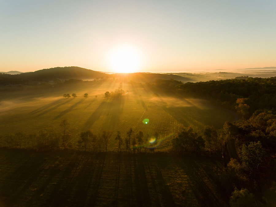 Sunrise over a field in Greene County, Va. Photo/Andrew Shurtleff