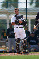 GCL Pirates catcher Yoel Gonzalez (5) during the first game of a doubleheader against the GCL Yankees 2 on July 31, 2015 at the Pirate City in Bradenton, Florida.  GCL Pirates defeated the GCL Yankees 2 2-1.  (Mike Janes/Four Seam Images)