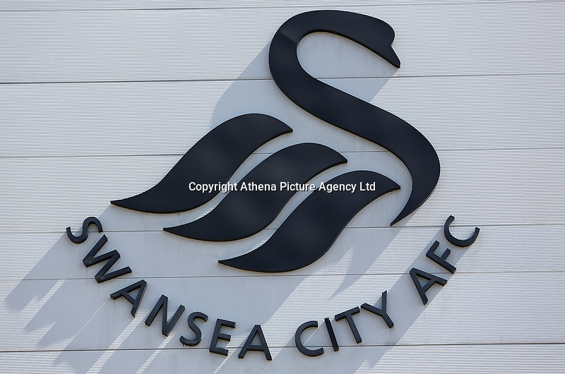 A general view of the Swansea City logo on the outside of the Liberty Stadium prior to kick off of the Premier League match between Swansea City and Stoke City at The Liberty Stadium, Swansea, Wales, UK. Saturday 22 April 2017