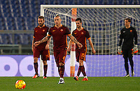 Calcio, Serie A: Roma vs Milan. Roma, stadio Olimpico, 9 gennaio 2016.<br /> From left, Roma's Daniele De Rossi, Radja Nainggolan, Miralem Pjanic and Wojciech Szczesny react afte AC Milan scored the equalizer goal during the Italian Serie A football match between Roma and Milan at Rome's Olympic stadium, 9 January 2016. The game ended 1-1.<br /> UPDATE IMAGES PRESS/Riccardo De Luca