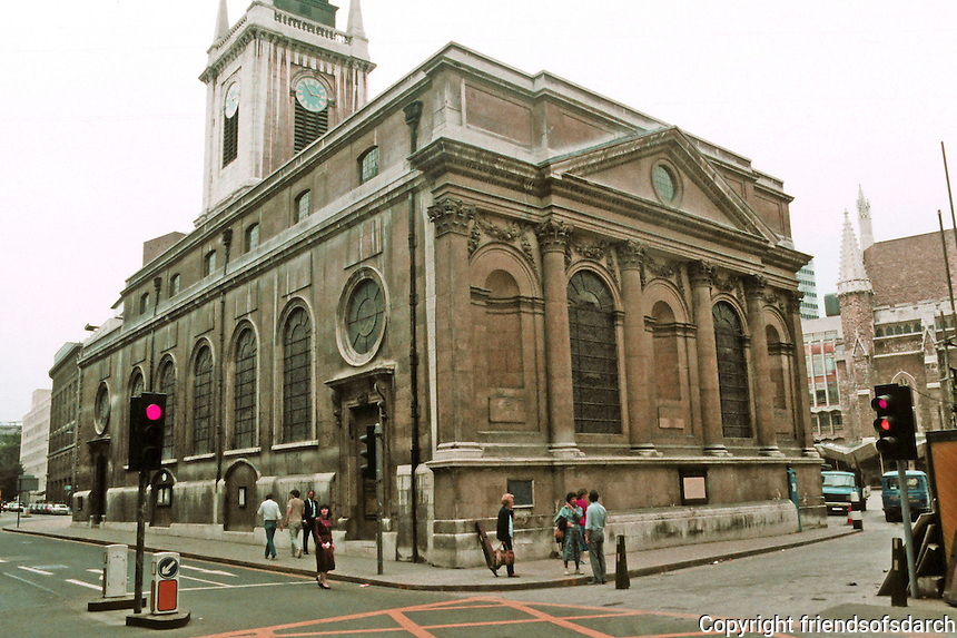 "Sir Christopher Wren: St. Lawrence Jewry 1670-87. ""The magnificent Corinthian east front, facing Guildhall Yard, is based on Wren's model design of St. Paul's"""