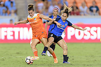 Houston, TX - Sunday August 13, 2017: Cari Roccaro and Lo'eau Labonta during a regular season National Women's Soccer League (NWSL) match between the Houston Dash and FC Kansas City at BBVA Compass Stadium.