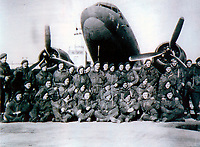 BNPS.co.uk (01202 558833)<br /> Pic: HannBooks/BNPS<br /> <br /> PICTURED: All 33 members SAS operation Galia unit prior to take off in December 1944. <br /> <br /> Remarkable photos taken deep behind enemy lines by an SAS unit during a daring wartime operation have come to light on the 75th anniversary of the mission. <br />  <br /> The little-known Operation Galia on the 27th December 1944 involved just 33 SAS men hoodwinking the Nazis and their fascist allies into thinking a much greater force had landed behind them in Italy in December 1944.<br />  <br /> Adolf Hitler's forces had just launched a major surprise offensive in the Ardennes Forest in Belgium that became known as the Battle of the Bulge.<br /> <br /> Robert Hann, whose late father was SAS Paratrooper Stanley Hann, retraced his father's wartime experiences and part of his [father's] epic 80 mile long escape route through the Apennine mountains which the men took, to help him write the book 'SAS Operation Galia.'